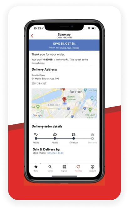 On demand delivery screenshot
