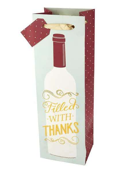 Filled with Thanks Single Bottle Paper Wine Bag