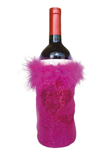 Frilly Glitter Wine Bottle Koozie