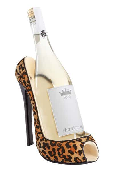 High Heel Wine Btl Holdr   Leopard