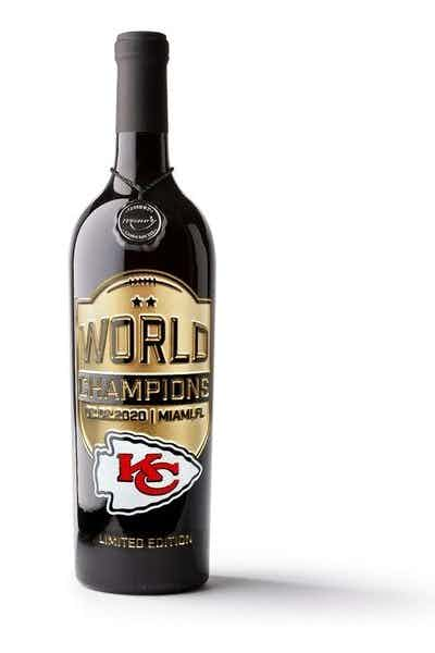 Mano's Chiefs World Champions Etched Wine