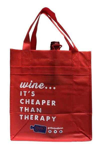 Molly's Spirits Reuseable 6 Bottle Wine Bag Red