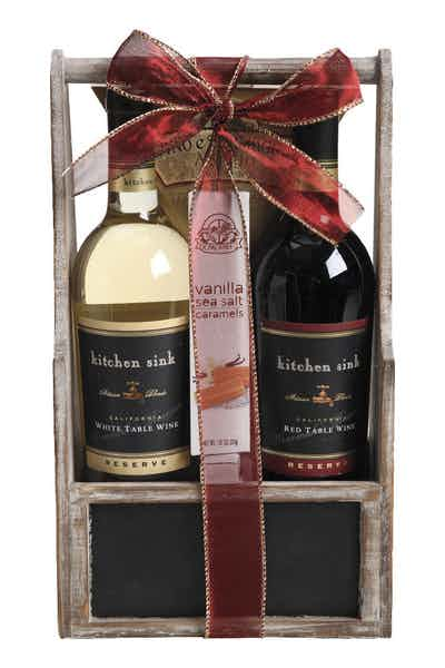 Wine Gift Basket Kitchen Sink Red And White Reserve Price & Reviews ...